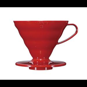 Пуровер Hario V60 02 червоний пластиковий