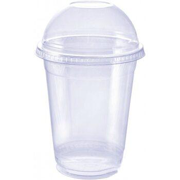 Стакан пластиковый ПЕТ 300 мл с крышкой 100 шт