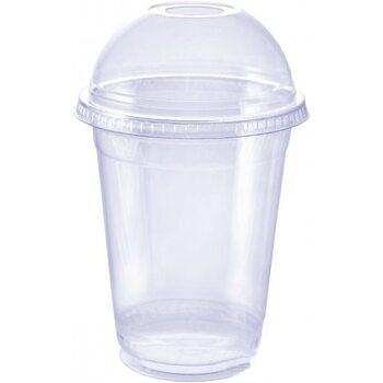 Стакан пластиковий ПЕТ 414 мл з кришкою 100 шт