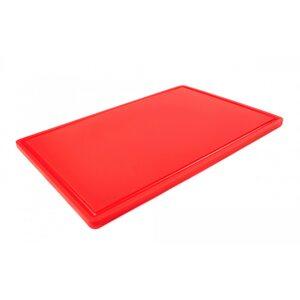Доска разделочная HDPE с желобом, 600 × 400 × 18 мм, 6 противоскользящих ножек, красная