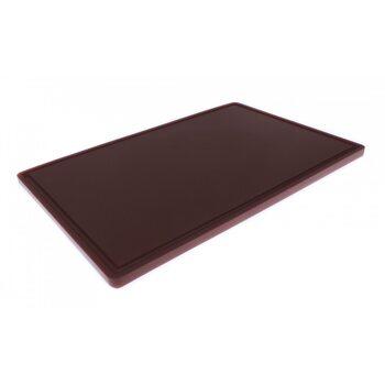 Доска разделочная HDPE с желобом, 600 × 400 × 18 мм, 6 противоскользящих ножек, коричневая
