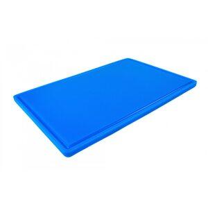 Доска разделочная HDPE с желобом, 600 × 400 × 18 мм, 6 противоскользящих ножек, синяя