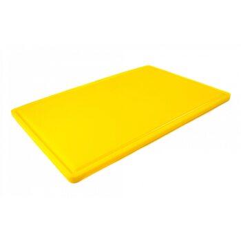 Доска разделочная HDPE с желобом, 600 × 400 × 18 мм, 6 противоскользящих ножек, желтая
