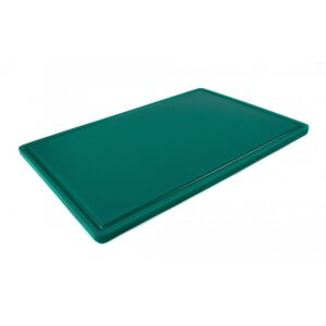 Доска разделочная HDPE с желобом, 600 × 400 × 18 мм, 6 противоскользящих ножек, зелёная