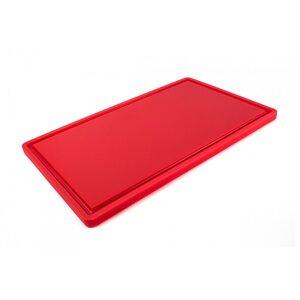 Доска разделочная HDPE с желобом, 500 × 300 × 18 мм, 6 противоскользящих ножек, красная