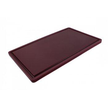 Доска разделочная HDPE с желобом, 500 × 300 × 18 мм, 6 противоскользящих ножек, коричневая