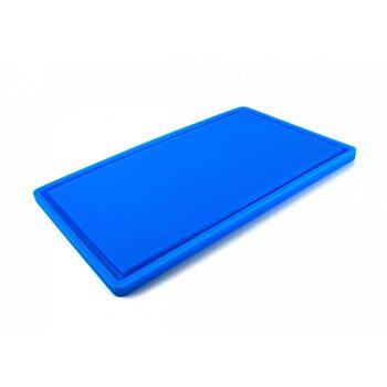 Доска разделочная HDPE с желобом, 500 × 300 × 18 мм, 6 противоскользящих ножек, синяя