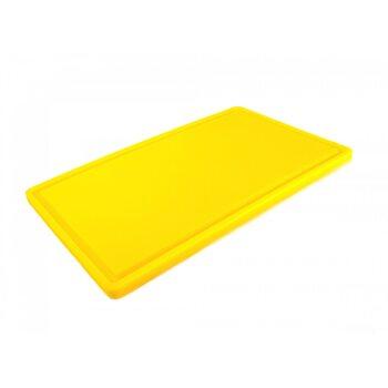 Доска разделочная HDPE с желобом, 500 × 300 × 18 мм, 6 противоскользящих ножек, желтая