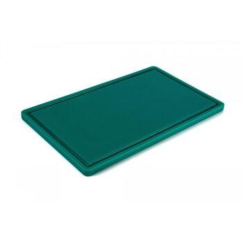 Доска разделочная HDPE с желобом, 500 × 300 × 18 мм, 6 противоскользящих ножек, зеленый