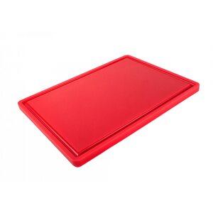 Доска разделочная HDPE с желобом, 400 × 300 × 18 мм, 4 противоскользящих ножек, красная