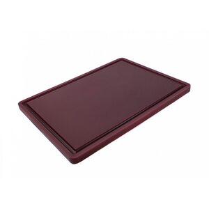 Доска разделочная HDPE с желобом, 400 × 300 × 18 мм, 4 противоскользящих ножек, коричневая