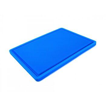 Доска разделочная HDPE с желобом, 400 × 300 × 18 мм, 4 противоскользящих ножек, синяя