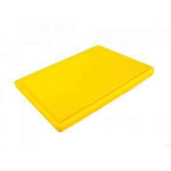 Доска разделочная HDPE с желобом, 400 × 300 × 18 мм, 4 противоскользящих ножек, желтая