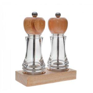 Набор из двух мельниц для соли и перца на деревянной подставке 165 мм