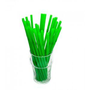 Трубочка для коктейля круглая, зелёная с гофрой 6 × 210 мм