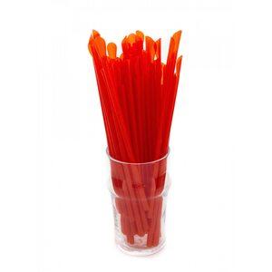 Трубочка для коктейля с лопаткой, красная 6 × 200 мм