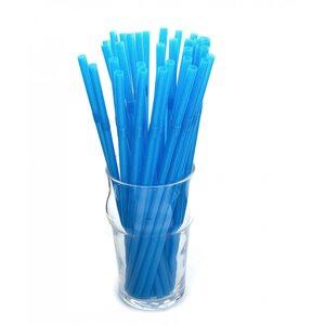 Трубочка для коктейля круглая, голубая с гофрой 6 × 210 мм