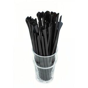 Трубочка для коктейля с лопаткой, чёрная 6 × 200 мм