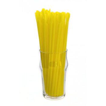 Трубочка для коктейля с лопаткой, жёлтая 6 × 200 мм