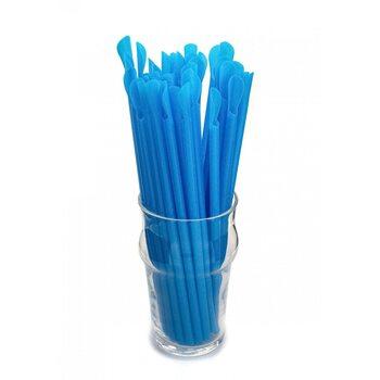 Трубочка для коктейля с лопаткой, голубая 6 × 200 мм