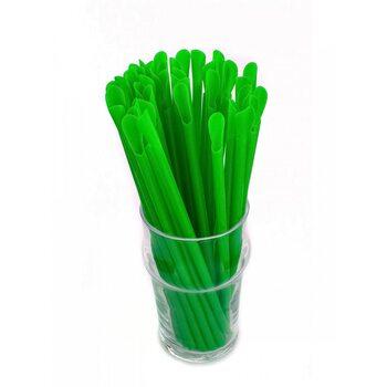 Трубочка для коктейля с лопаткой, зелёная 6 × 200 мм