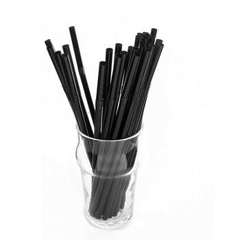 Трубочка для коктейля круглая, чёрная с гофрой 6 × 210 мм