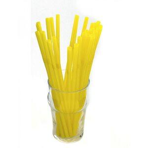 Трубочка для коктейля круглая, жёлтая с гофрой 6 × 210 мм