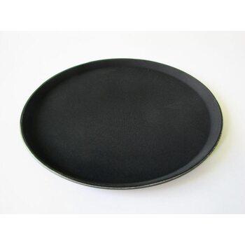 Поднос антислип круглый черный 280 мм