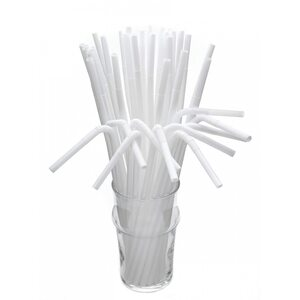 Трубочка для коктейля круглая, белая с гофрой 6 × 260 мм
