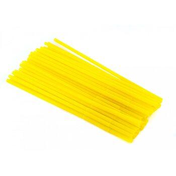 Трубочка для коктейля круглая, жёлтая с гофрой 6 × 260 мм