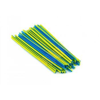 Трубочка для коктейля круглая, желто-синяя с гофрой 6 × 260 мм