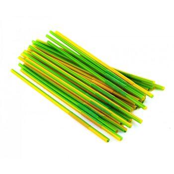 Трубочка для коктейля круглая, зелено-желтая с гофрой 6 × 260 мм