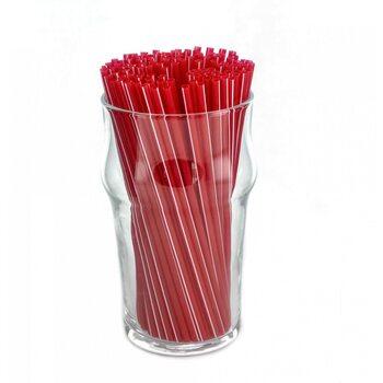Трубочка для коктейля овальная, красная в белую полоску 3×130 мм 200 шт